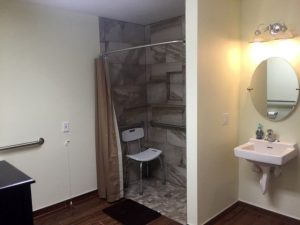 Resident Shower at A Country Place Assisted Living Facility.