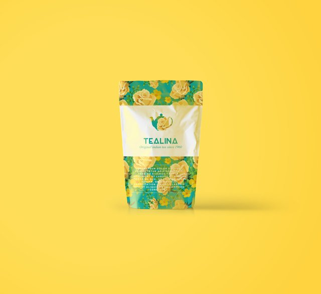 Tea packaging editorial image.